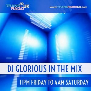 DJ Glorious in the Mix picture of small room lit up in blue