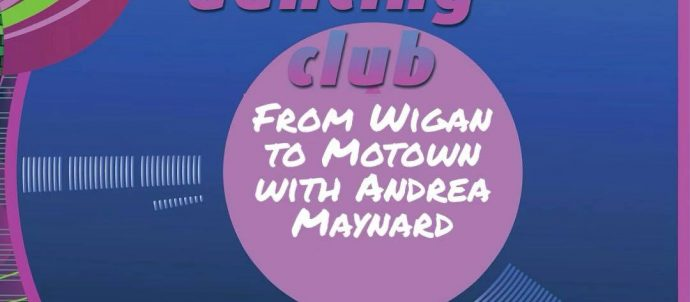 From Wigan to Motown picture of drawn blue vinyl record with pink outline
